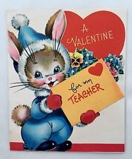 Vintage Die Cut Valentine's Day Card Cute Bunny Rabbit Snow Suit Flowers Heart