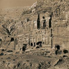 Emmet Gowin - The Palace and Corinthian Tombs, Petra (Jordan), 1985. Gelatin silver print.