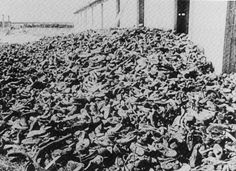 A pile of the victims' shoes at Majdanek.    Photo from Milton, S., and R. Klemig, eds. Archieves of the Holocaust. New York: Garland, 1990