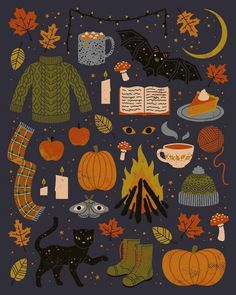 The Artwork of Camille Chew Cute Autumn/Halloween wallpaper. Theme Halloween, Fall Halloween, Wall Prints, Framed Art Prints, Fall Inspiration, Motivation Inspiration, Autumn Cozy, Autumn Diys, Autumn Feeling