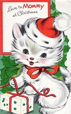 """Love to Mommy at Christmas"" - kitten wearing Santa hat"