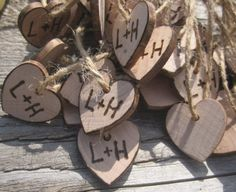 Rustic Wedding Heart Favor Tags 40 Woodburned Charms Personalized Initials Bride Groom by dlightfuldesigns