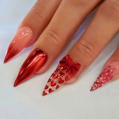 Red Chrome Nail Design ❤️ Ombre nails are versatile and fun, so even a novice can pull off an ombre look. In case you do not seek easy ways, we have something for you, too! chrome Trendy Options for Ombre Nails For Any Occasion Red Chrome Nails, Chrome Nails Designs, Valentine's Day Nail Designs, Red Nails, Red Stiletto Nails, Chrome Nail Art, Heart Nail Designs, Red Nail Art, Bling Nails