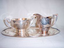 Vintage Wilcox early 1900's silverplate tray service cream sugar set Sugar Bowls And Creamers, Silver Accessories, Cream And Sugar, Fine China, Flatware, Silver Plate, Tray, Crystals, Shopping