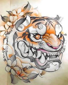japanese tattoos designs and meanings Japanese Tiger Tattoo, Japanese Tattoo Designs, Japanese Sleeve Tattoos, Tatoo Art, Body Art Tattoos, Tattoo Drawings, Tattoo Oriental, Tiger Tattoo Design, Fu Dog