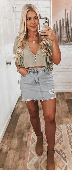 gray crop top and blue denim mini skirt #summer #outfits