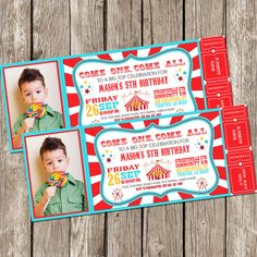 Vintage Circus Carnival Photo Invitation - Ticket Invitation - Carnival Circus Birthday Party - DIY Printable by LittleMsShutterbug on Etsy https://www.etsy.com/listing/202395213/vintage-circus-carnival-photo-invitation