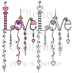 Love Dangles Digital Stamp & Painted Image