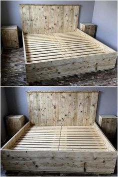 Renovate your bedroom with this fabulous wooden bed shown below in the image. This giant pallet bed with side tables is beautifully designed with the artistic arrangement of wooden pallets in the desi Rustic Bedroom Furniture, Pallet Patio Furniture, Rustic Bedding, Furniture Design, Bedroom Decor, Furniture Ideas, Furniture Layout, Modern Furniture, Furniture Stores