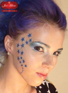 Face painting using stencils - Stars Face Art