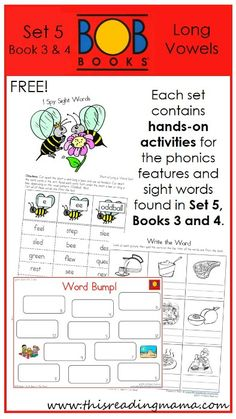 FREE BOB Book Printables for Set 5, Books 3 and 4 | This Reading Mama