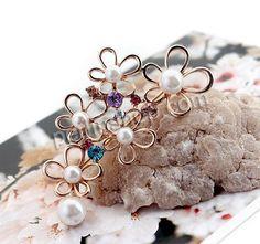 Zinklegierung Broschen, Blume, Rósegold-Farbe plattiert, mit Kunststoff-Perlen & mit Strass, frei von Nickel, Blei & Kadmium, 58x29mm, 10Stü...