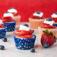 Lemon & vanilla with berries - a festively delicious 4th of July cupcake. Quick, easy, gluten free and berry berry good.