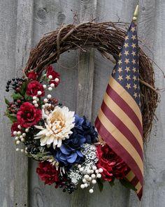 americana grapevine wreaths | Americana Wreath, Patriotic Door Wreath, Hydrangea, Mums, Tea Stained ...