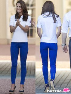 """2012, Kate played it """"safe"""" with a sporty polo top and jeans."""