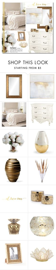 """""""Golden Dreams"""" by katrinaalice ❤ liked on Polyvore featuring interior, interiors, interior design, hogar, home decor, interior decorating, Renwil, Wendover Art Group, New Growth Designs y Kravet"""