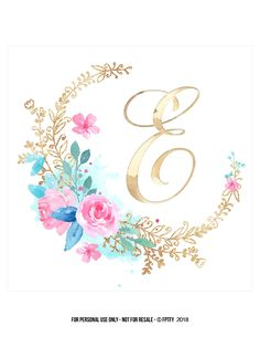 Monogram Wallpaper, Clock Wallpaper, Iphone Wallpaper, Flower Background Wallpaper, Flower Backgrounds, Floral Letters, Monogram Letters, Watercolor Flowers, Watercolor Art