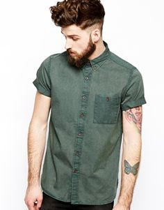 ASOS Twill Shirt In Short Sleeve With Acid Wash