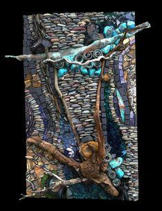 Copper, turquoise, pebbles, glass, wood, tile  by Karen Klassen