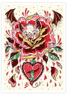 'Batty Blossom' Fine Art Print - Creep Heart by Ella Mobbs