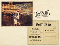 Travel inspired Wedding Save the Dates