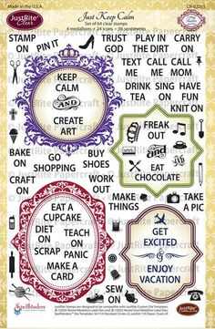 Just Keep Calm Clear Stamps  Wish list set.  Come's with Matching Medallion Label