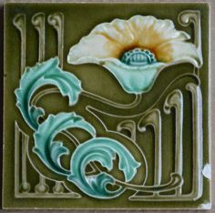 Antique england - art nouveau majolica tile c1900