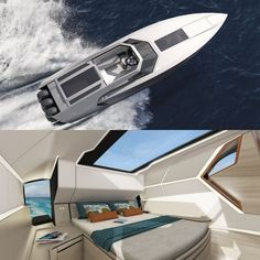 Superfly GT 42 by Flying Flipper and Red Yacht Design for speeds up to 65 knots or a silent cruise with an electric engine.