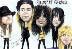 Guns n Roses Characatures. (except Axl is actual size)
