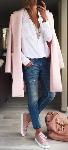 casual style perfection pink coat bag sneakers white blouse jeans
