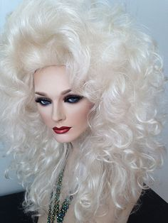 Large, Dramatic, Beautiful, Styled, Drag Queen Wig, Platinum Blonde, Curly