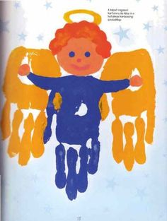 handprint art for Christmas - handprint angels