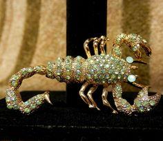 "Crystal Rhinestones Scorpion Brooch Pin Aurora Borealis Teal Rhinestones 2.5"" #Unsigned"