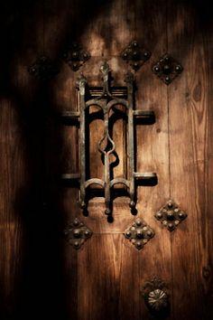 door wrought iron wood