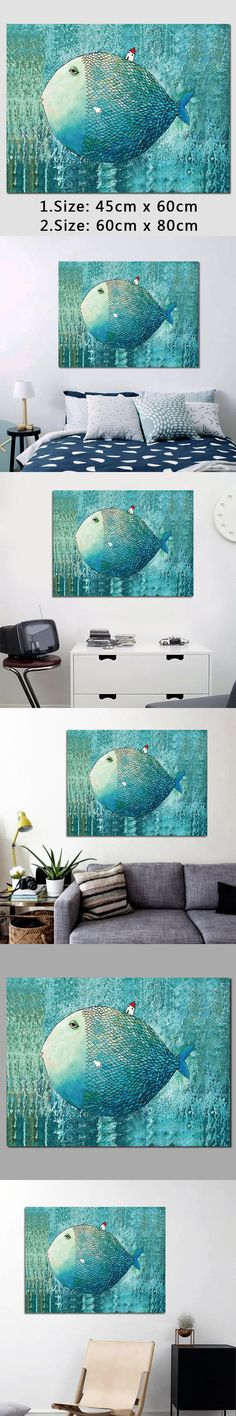 Big size decoration blue green fish animal house wall art pictures Canvas Painting for children kids room home decor unframed