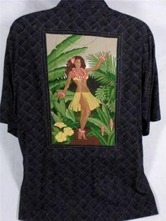 Tori Richards Vintage Shirt Hawaiian Hula Girl Black Check Imported Fabric L