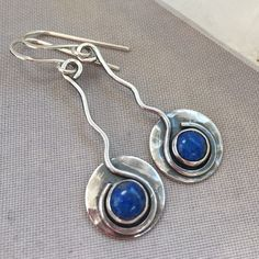 Turquoise Jewelry Necklace Oxidized Silver Earrings with Lapis Gemstone. - Oxidized Silver Earrings with Lapis Gemstone. Silver Bracelets, Sterling Silver Earrings, Silver Rings, Silver Pendants, Metal Jewelry, Fine Jewelry, Silver Jewellery, Gemstone Jewelry, Tanzanite Jewelry