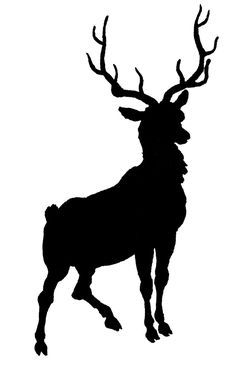 Vintage Clip Art - Deer with Antlers Silhouette - The Graphics Fairy