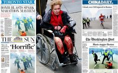 The Boston Marathon explosions was front page news round the world. Here is a   selection of British and international coverage.