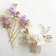 Alfileres de flor delicada lavanda lila horquillas de por amuandpri
