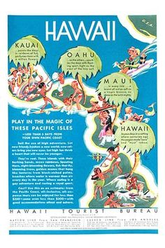 The Matson Line, a steamship company, ad promoting the islands of Hawaii for a…