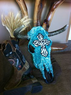 Check out her work!!  Turquoise and zebra cross steer skull Free shipping by SkullKrazy, $475.00