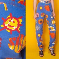 VTG 80s MOSCHINO Novelty Sun SMILEY Print RAVE JEANS #Moschino
