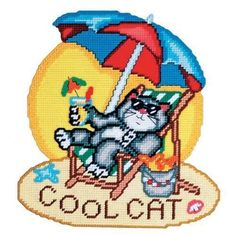 BEACH COOL CAT WALL HANGING by DW 1/6