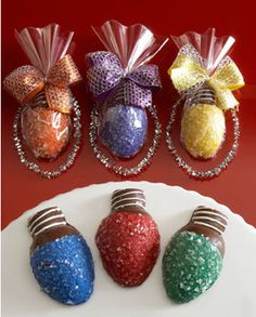 Chocolate covered strawberries Christmas lights...what a great idea!