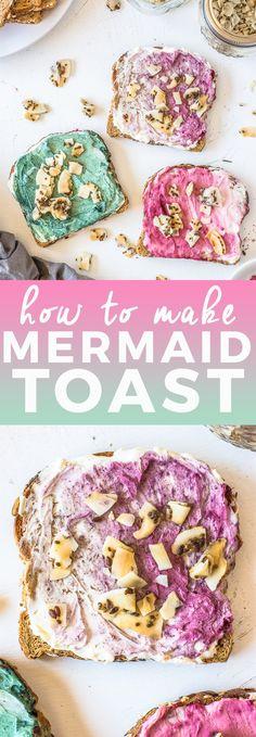 Mermaid toast made with spirulia powder, hibiscus powder, and beet root powder!