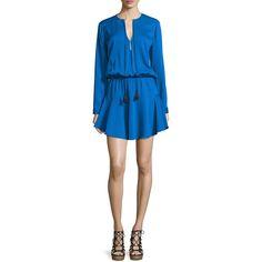 Karina Grimaldi Pilar Long-Sleeve Split-Neck Dress ($210) ❤ liked on Polyvore featuring dresses, classic blue, long sleeve dress, curved hem dress, blue long sleeve dress, blue a line dress and blouson dress