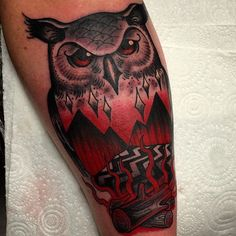 Twin peaks tattoo for Chris the other day! Cheers dude enjoy : ) #twinpeakstattoo #theowls #owltattoo done @fmtglasgow