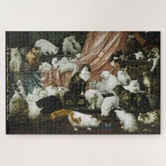 42 Cats & Kittens Vintage Painting Art Animal Kids Jigsaw Puzzle #jigsaw #puzzle #jigsawpuzzle Custom Jigsaw Puzzles, Jigsaw Puzzles For Kids, Oil Painting On Canvas, Painting Art, Animal Paintings, Animals For Kids, Cat Art, Lovers Art, Vintage Art