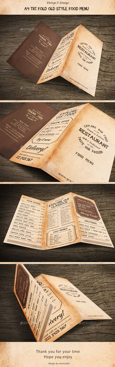 Old Style A4 Trifold Food Menu
